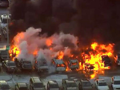 At least a dozen cars catch fire at Newark Liberty International Airport (VIDEO)